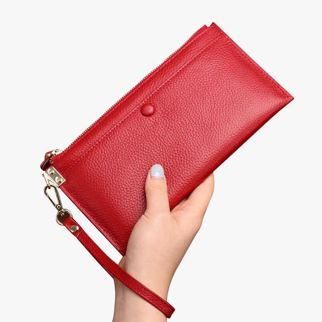 Genuine Leather Women Wallet Long thin Purse female Wrist Wallets .