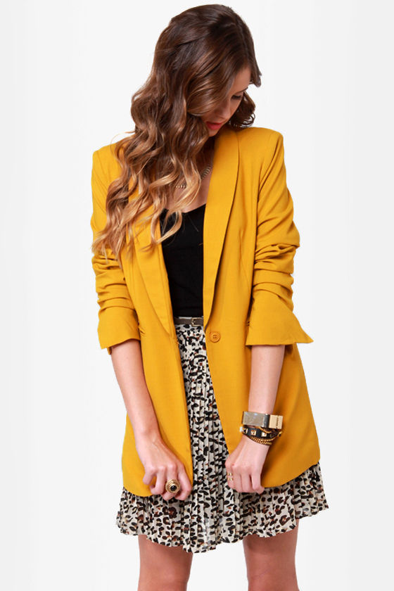 Lovely Yellow Blazer - Yellow Jacket - $51.