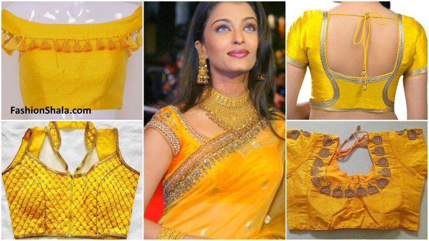 Yellow designer blouse designs - Kurti Blou