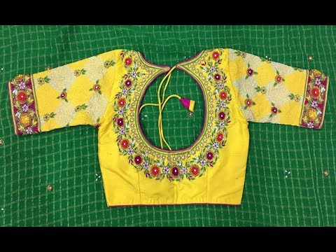 Top 25 Yellow Colour Blouse Designs | Patch Work | Latest Designs .