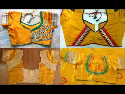 Top 10 Yellow Colour Patch Work Blouse Designs For Silk Sarees .