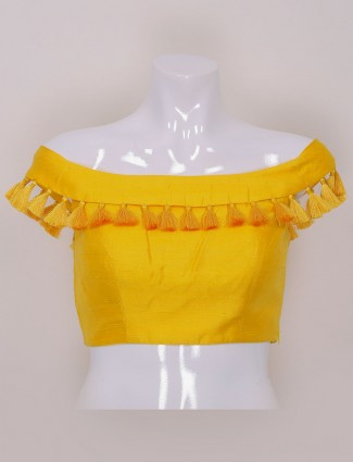 Yellow color raw silk designer ready made blouse - G3-RB0657 .