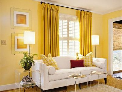 Love The Yellow Curtains On Yellow Walls. (con imágenes) | Sala de .