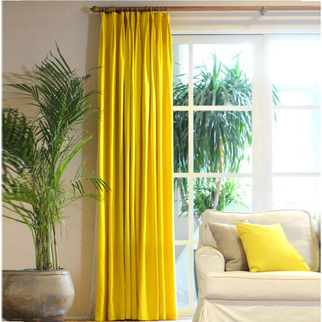 Floor To Ceiling Lemon Yellow Curtains Cotton Fabr