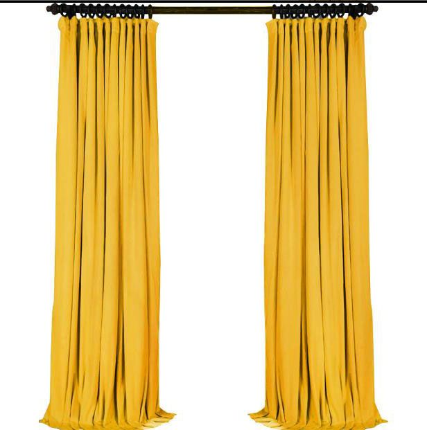 Bright Yellow Velvet Curtains Solid Color Drapes (With images .