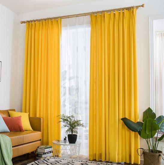 Vibrant Lemon Yellow Curtains Polyeaster Cott