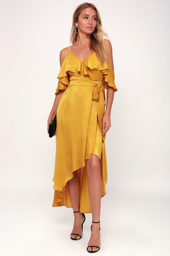 Chic Yellow Dress - Satin Dress - High-Low Dress - Wrap Dre