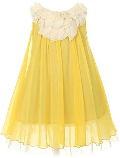 Amazon.com: Kid's Dream Little Girls Yellow Floral Lace Bodice .