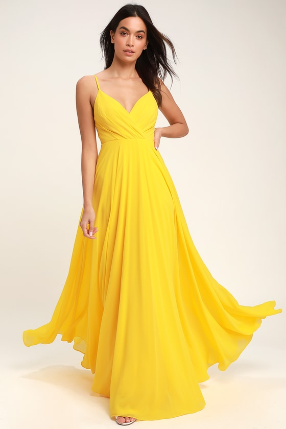 Lovely Yellow Maxi Dress - Yellow Surplice Bridesmaid Dre