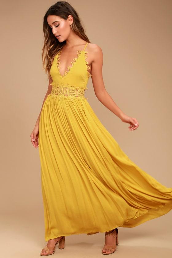 Mustard Yellow Maxi Dress - Lace Maxi Dress - Plunge Ne