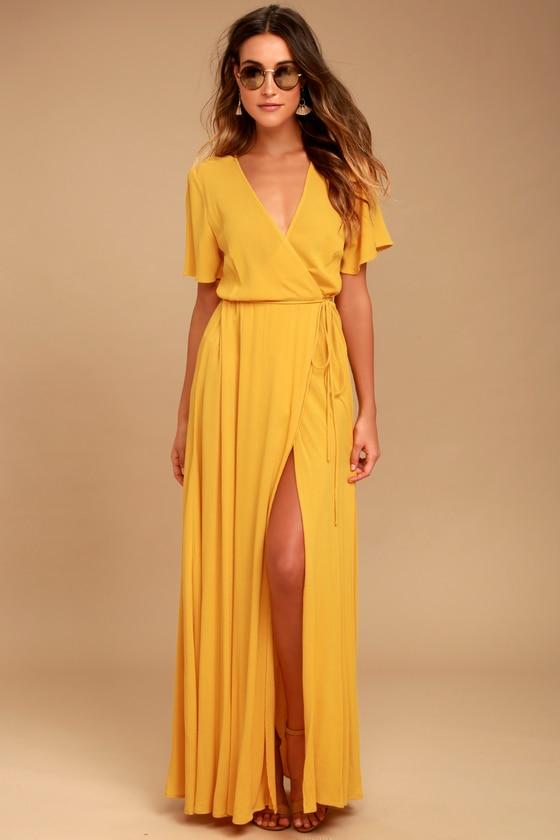 Lovely Golden Yellow Dress - Wrap Dress - Maxi Dre
