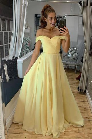 Off Shoulder Yellow Chiffon Long Prom Dress with Beads, Off the .