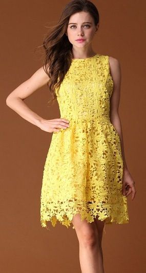 Yellow #Lace #Dress