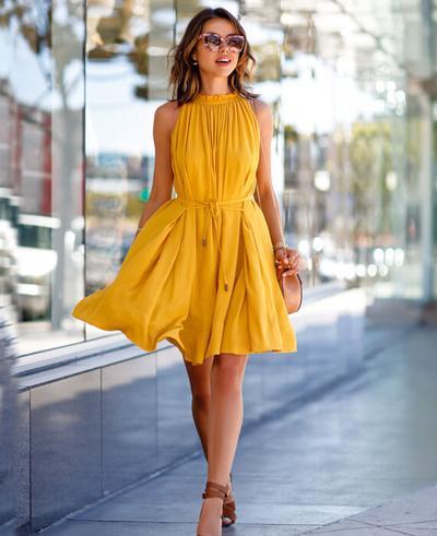 Casual Sleeveless Short Mini Dress Yellow - Seami