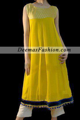 Yellow White Casual Wear Frock - Latest Designer Dresses - Fashion .