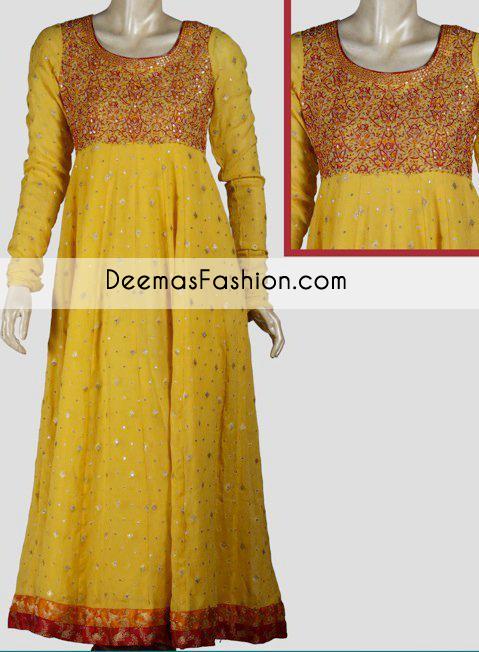 Yellow A-line Bridal Mehndi Wear Frock - Buy Latest Pakistani .