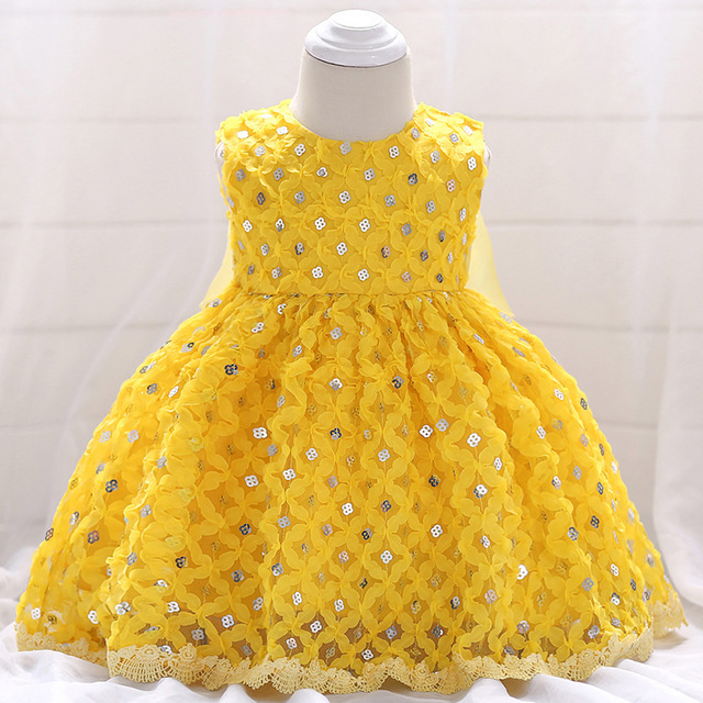 Baby Girl Dress Yellow Sequin Beaded Stunning Pageant Dress Prom .