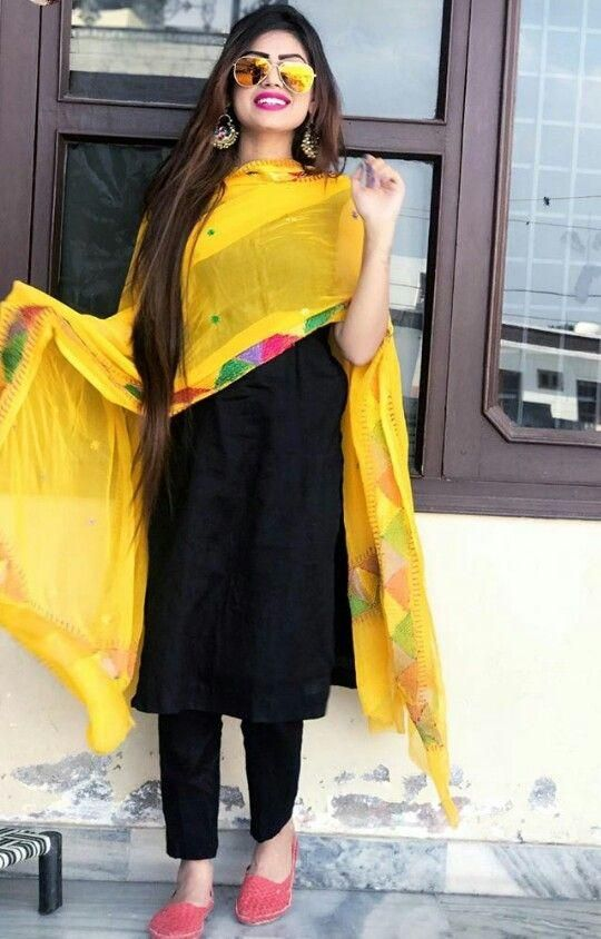 Black-Yellow Salwar Kameez (With images) | Indian designer outfits .