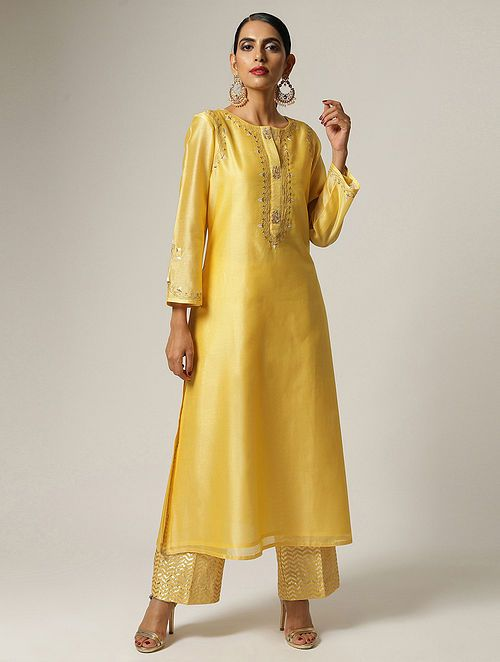 Yellow Embroidered Silk Chanderi Kurta in 2020 | Latest salwar .