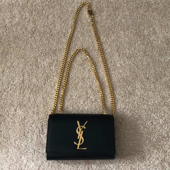 Yves Saint Laurent Bags | Ysl Small Long Chain Clutch Black And .