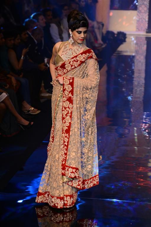 A gorgeous tulle saree with a heavy zardosi border (With images .
