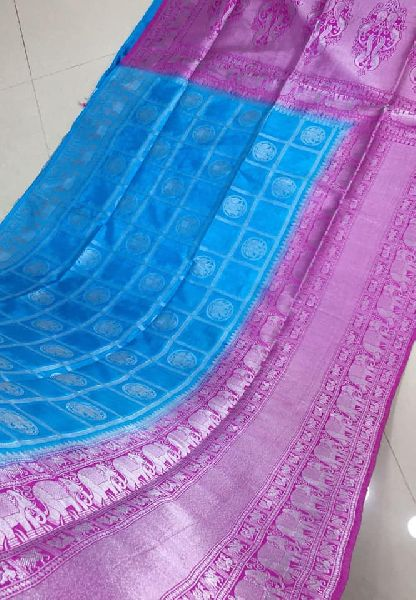 Pure Handloom Dupion Weaving Sarees with silver zari and contrast .