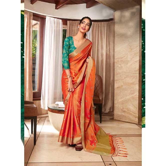 Linen Zari With Resham Work saree in Green - linen sarees - gnp0051