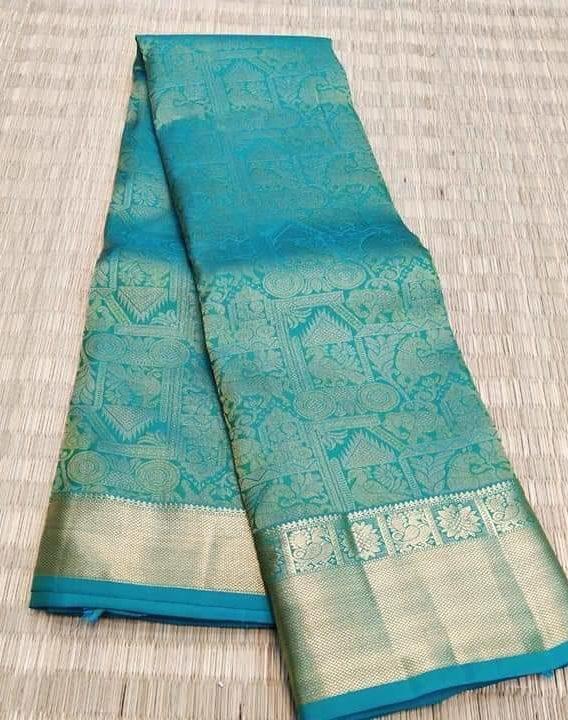 Pure Kanchivaram Silk Saree with silver zari Design - sudhasilks.c